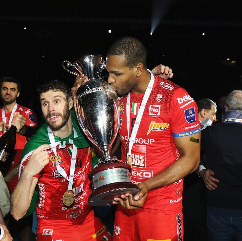 Yoandy Leal é campeão da Copa Itália. Foto: Lube Civitanova